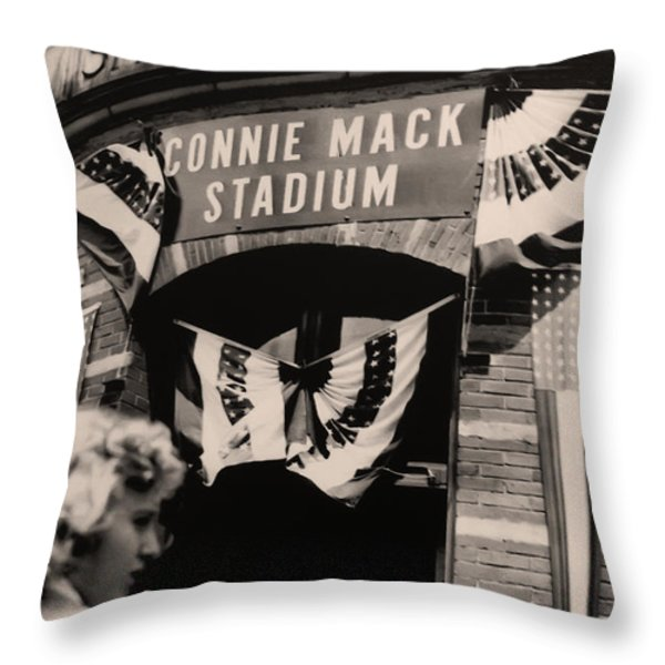Shibe Park - Connie Mack Stadium Throw Pillow by Bill Cannon