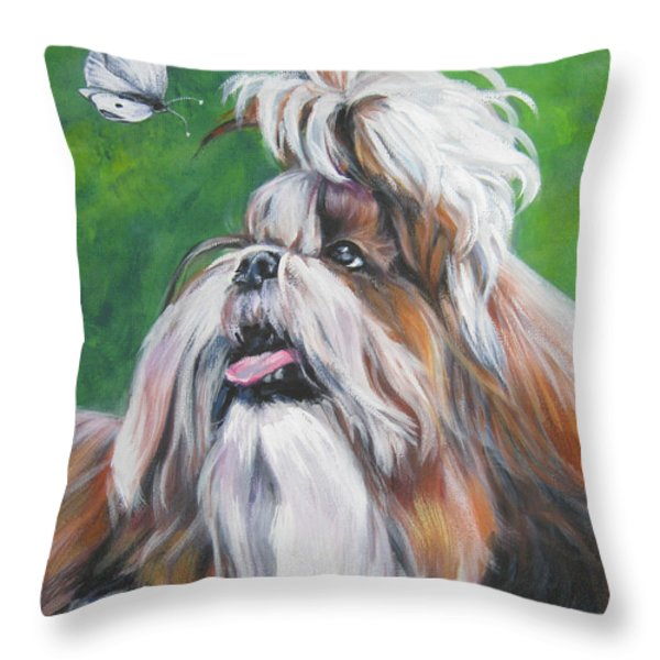 Shih Tzu And Butterfly Throw Pillow by Lee Ann Shepard