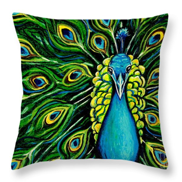 Shimmering Feathers of a Peacock Throw Pillow by Elizabeth Robinette Tyndall
