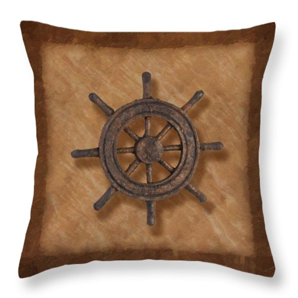 Ship's Wheel Throw Pillow by Tom Mc Nemar