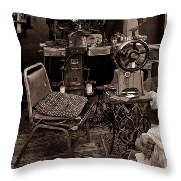 Shoe Hospital - Sepia Throw Pillow by Christopher Holmes