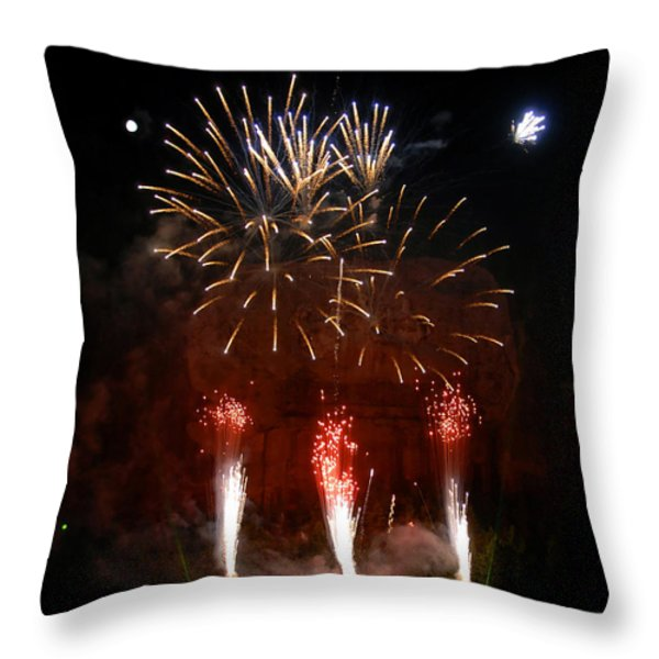 Shooting The Fireworks Throw Pillow by David Lee Thompson