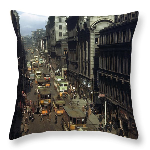 Shoppers And Trams Clog Renfield Street Throw Pillow by B. Anthony Stewart