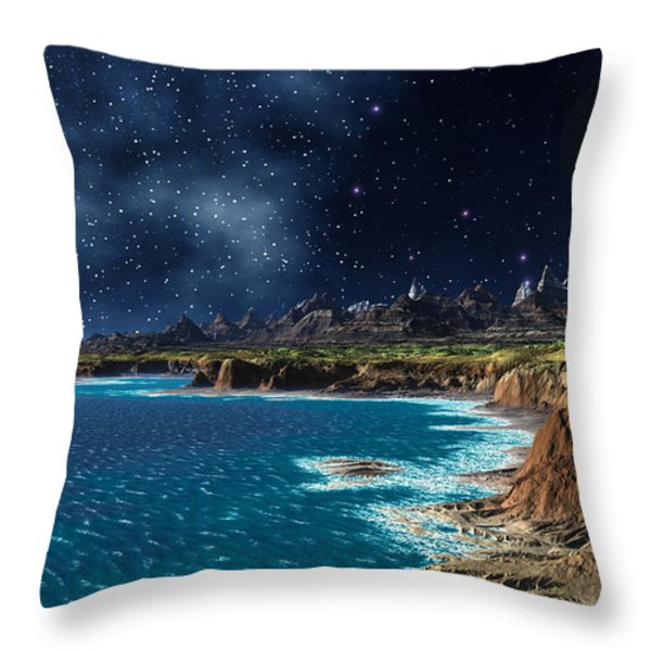 Shore And Ocean Throw Pillow by Heinz G Mielke