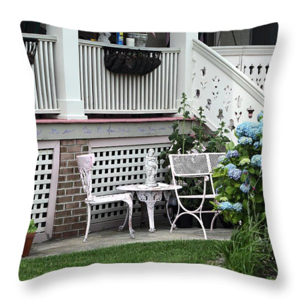 Shore Table And Chairs Throw Pillow by John Rizzuto