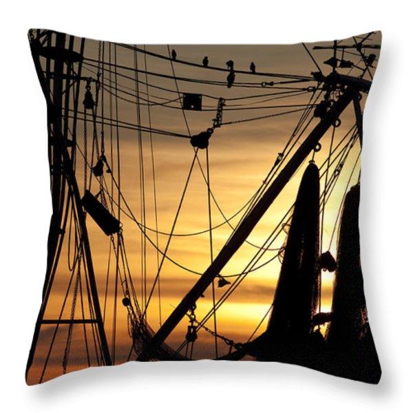 Shrimp Boat Rigging Throw Pillow by Dustin K Ryan