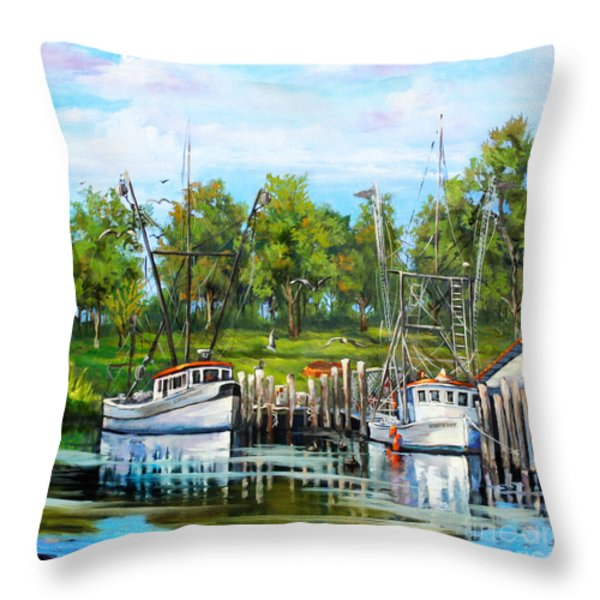 Shrimping Boats Throw Pillow by Dianne Parks