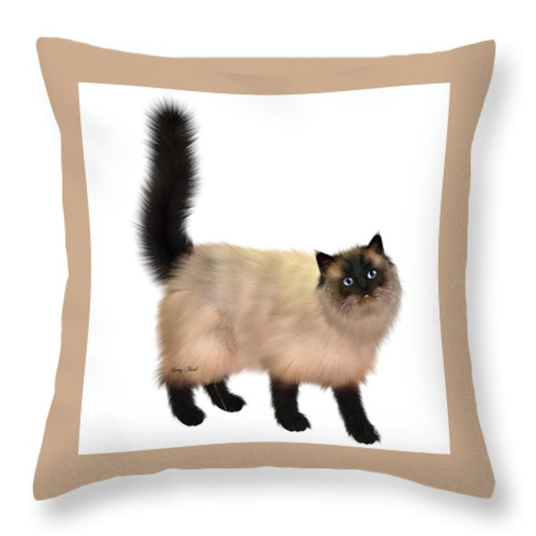 Siamese Cat Throw Pillow by Corey Ford