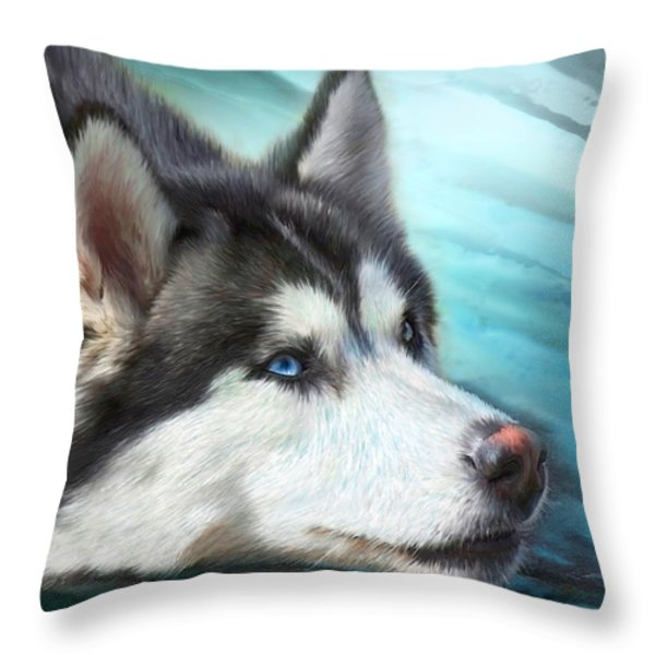 Siberian Husky Throw Pillow by Carol Cavalaris