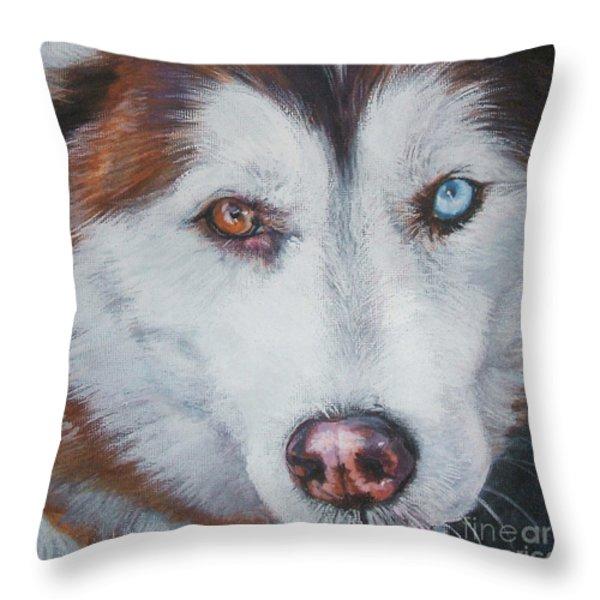 Siberian husky red Throw Pillow by Lee Ann Shepard