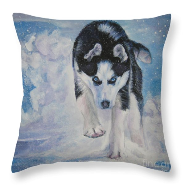 Siberian Husky run Throw Pillow by Lee Ann Shepard