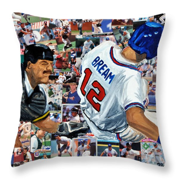 Sid Bream Slide Throw Pillow by Michael Lee