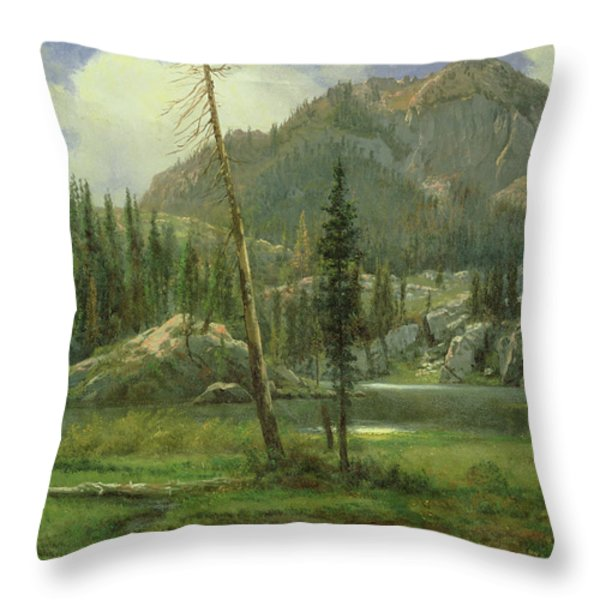 Sierra Nevada Mountains Throw Pillow by Albert Bierstadt