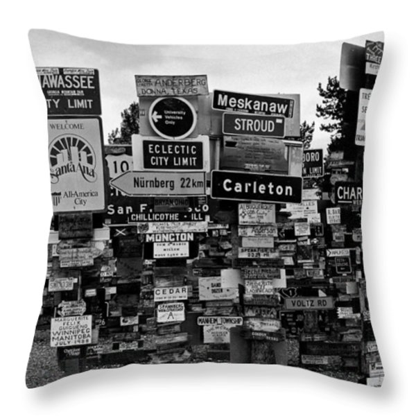 Sign Post Forest Throw Pillow by Juergen Weiss