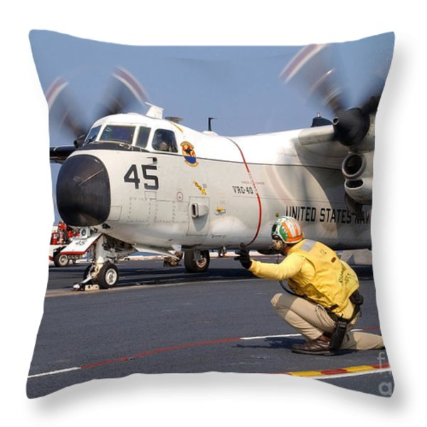 Signalman Gives The Launch Signal Throw Pillow by Stocktrek Images