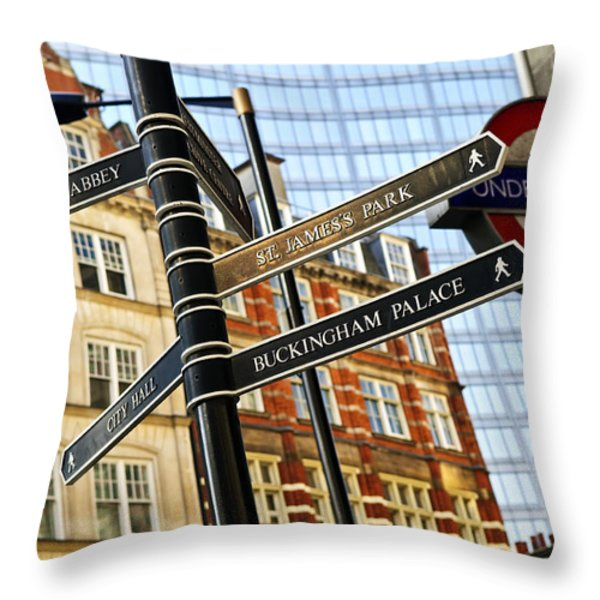 Signpost in London Throw Pillow by Elena Elisseeva