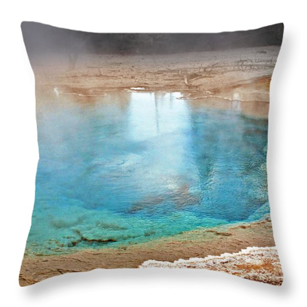 Silex Spring Fountain Paint Pot Yellowstone National Park Wy Throw Pillow by Christine Till