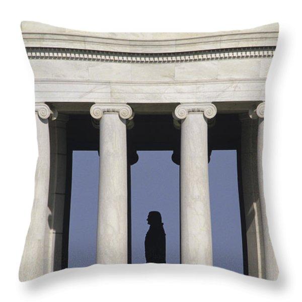 Silhouette Of The Jefferson Memorial Throw Pillow by Kenneth Garrett
