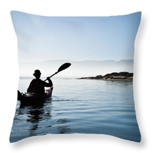 Silhouetted Morro Bay Kayaker Throw Pillow by Bill Brennan - Printscapes