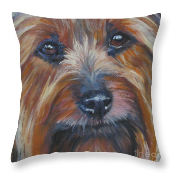 Silky Terrier Throw Pillow by Lee Ann Shepard