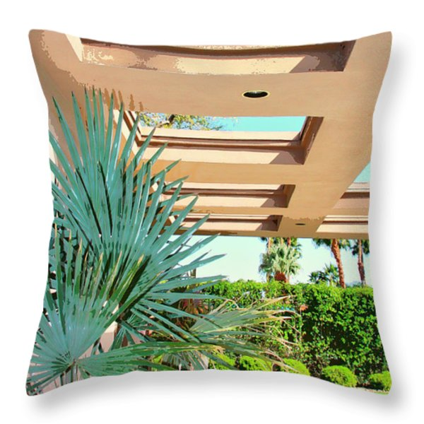 Sinatra Patio Palm Springs Throw Pillow by William Dey