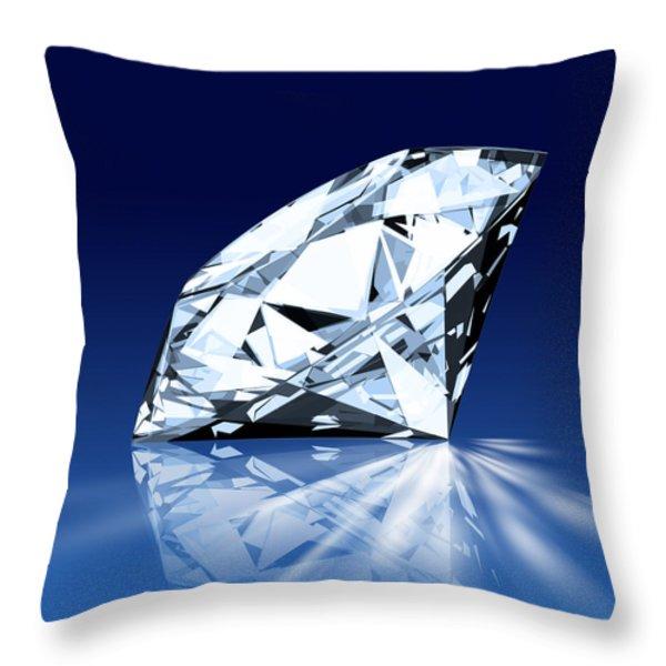 single blue diamond Throw Pillow by Setsiri Silapasuwanchai