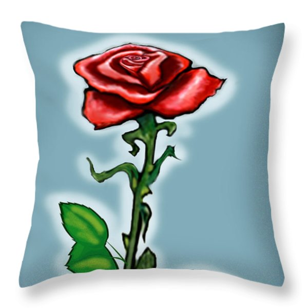 Single Red Rose Throw Pillow by Kevin Middleton