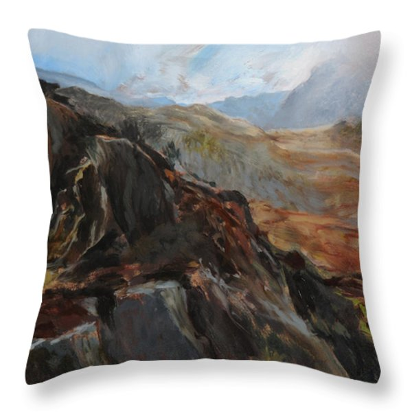 Sketch In Snowdonia Throw Pillow by Harry Robertson