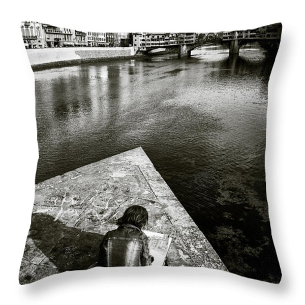 Sketching Throw Pillow by Dave Bowman
