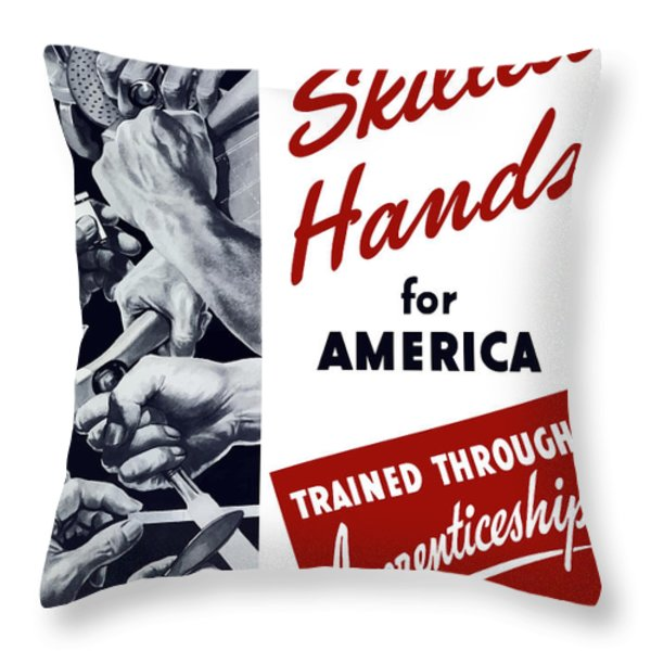 Skilled Hands For America Throw Pillow by War Is Hell Store