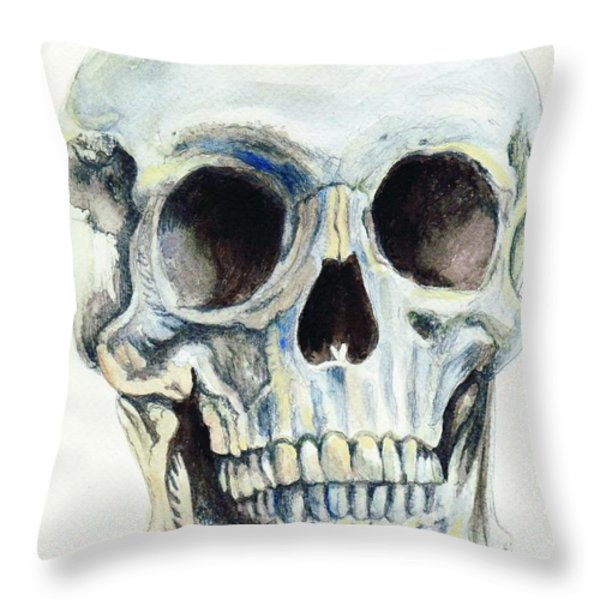 Skull Throw Pillow by Morgan Fitzsimons