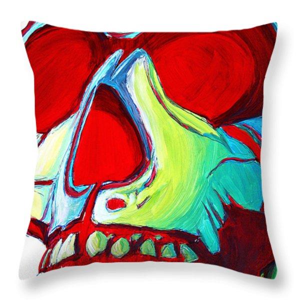 Skull Original Madart Painting Throw Pillow by Megan Duncanson