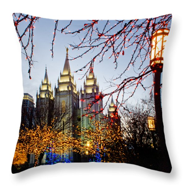 SLC Temple Lights lamp Throw Pillow by La Rae  Roberts
