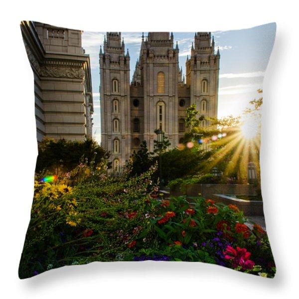 SLC Temple Sunburst Throw Pillow by La Rae  Roberts