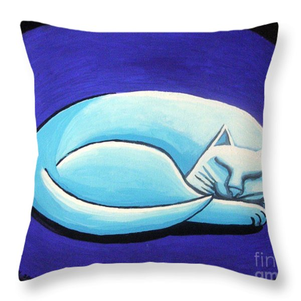 Sleeping Cat Throw Pillow by Genevieve Esson