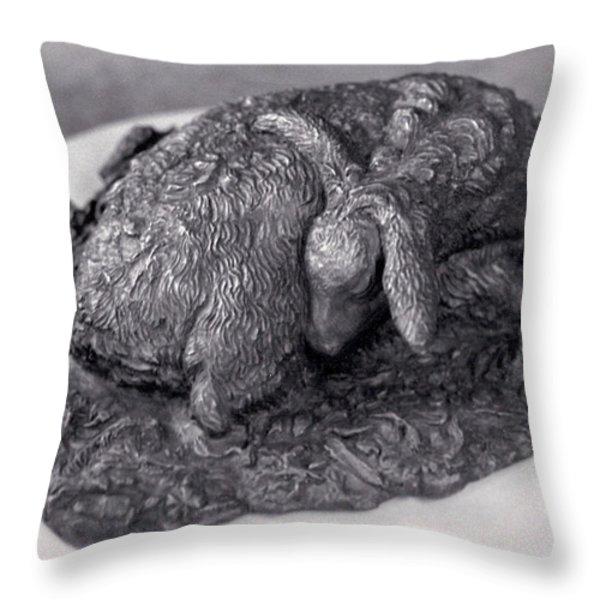 Sleeping Fawn Throw Pillow by Dawn Senior-Trask