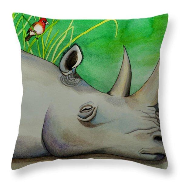 Sleeping Rino Throw Pillow by Robert Lacy