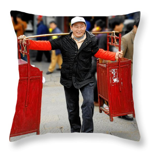 Slices Of Chinese Life Throw Pillow by Christine Till