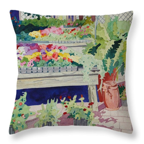 Small Garden Scene Throw Pillow by Terry Holliday
