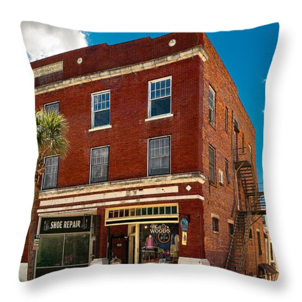 Small Town Shops Throw Pillow by Christopher Holmes