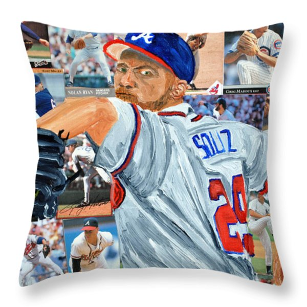 Smoltz Throw Pillow by Michael Lee
