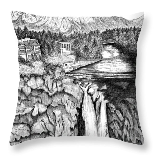 Snoqualmie Falls Throw Pillow by Lawrence Tripoli