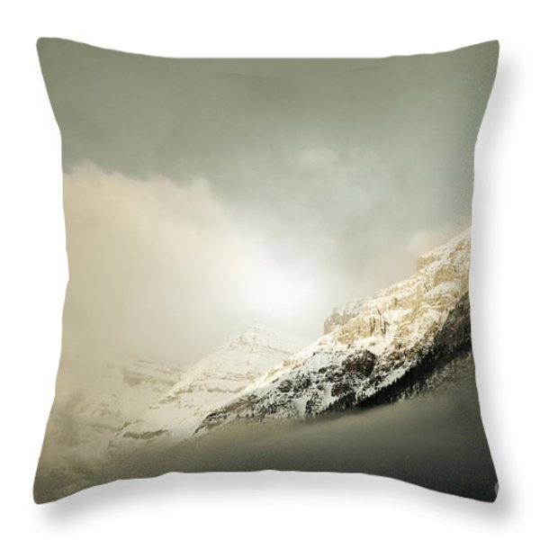Snow Capped Banff Throw Pillow by Andrea Hazel Ihlefeld