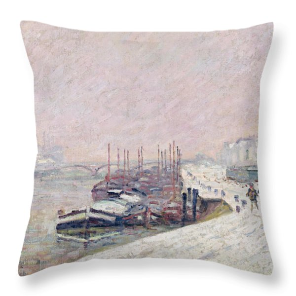 Snow In Rouen Throw Pillow by Jean Baptiste Armand Guillaumin