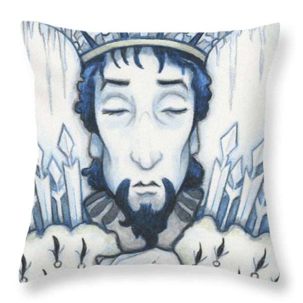 Snow King Slumbers Throw Pillow by Amy S Turner