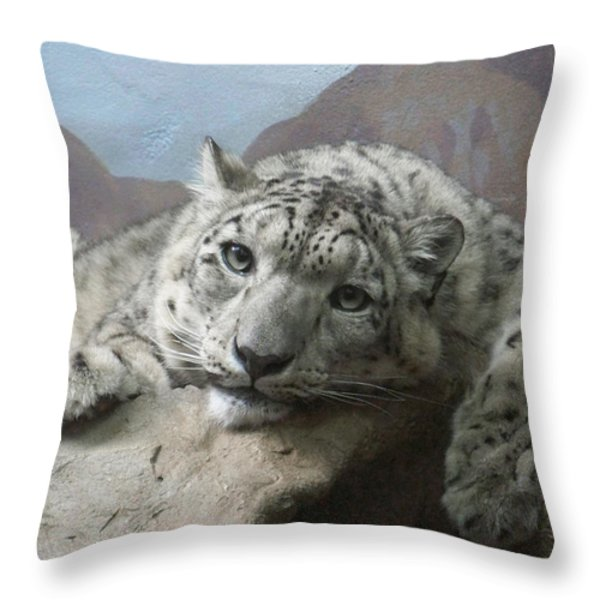 Snow Leopard Relaxing Throw Pillow by Ernie Echols