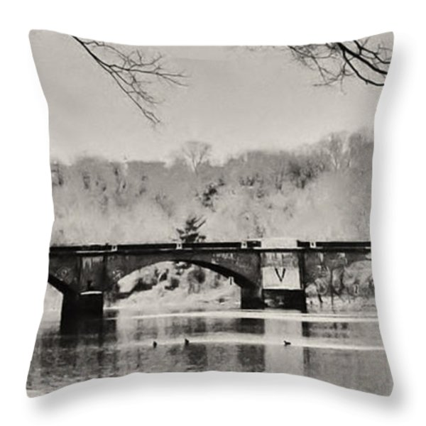Snow on the River Throw Pillow by Bill Cannon