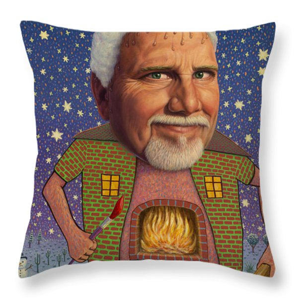 Snow on the roof... Throw Pillow by James W Johnson