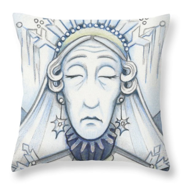 Snow Queen Mum Slumbers Throw Pillow by Amy S Turner