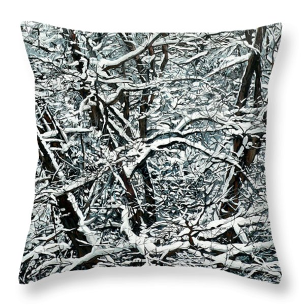 Snow Tree Throw Pillow by Nadi Spencer